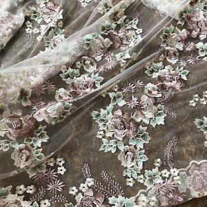 Vintage 3D Flower Embroidery Lace Fabric Materials Prom Fabrics Mesh DIY Wedding Bridal Full Evening Dress 59 Width Sold by 1 yard