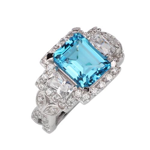 Natural Blue Topaz 925 Sterling Silver Ring Women December Birthstone Size 8