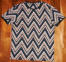 Louis Vuitton Authentic Men's Multi-Colored Chevron Print SS Crew Shirt size L