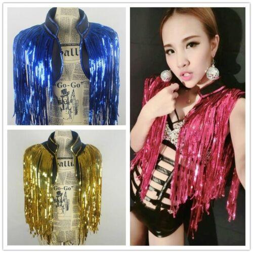 Women Sequin Tassel Waistcoat Glitter Costume Dance Tank Top Vest Clubwear Shiny