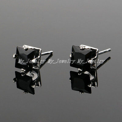 1Pair Women Elegant Silver Plated Square Crystal Cubic Zirconia CZ Stud Earrings