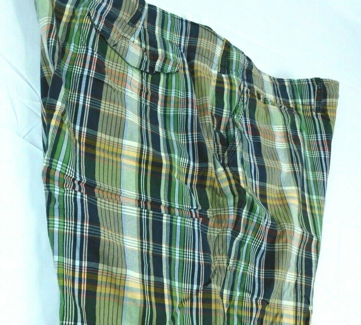 ce532ec9d9db67 Polo Ralph Flat bluee Green Madras Plaid Shorts Sz 48B Drawsting Front  Lauren nryuwb19251-Shorts