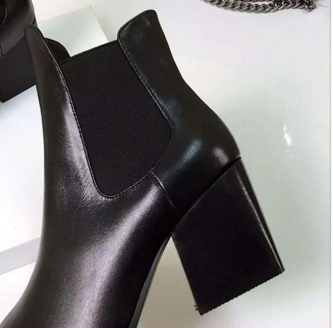 Women Pointed Toe Leather Pull On High Top New Ankle Boots Low Block Heel Shoes