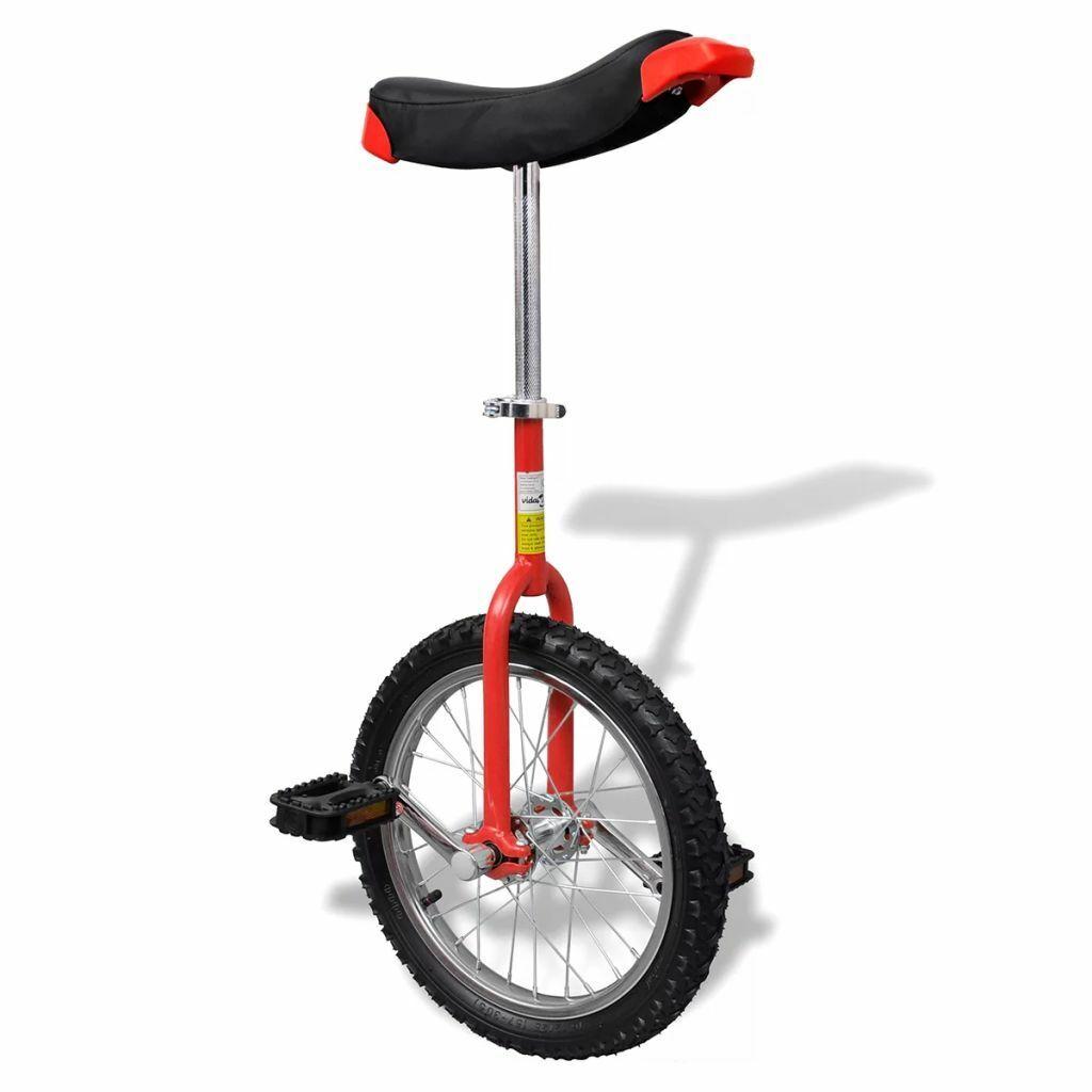 VidaXL Monociclo ruota regolabile rosso acciaio e plastica uniciclo 40,7 cm
