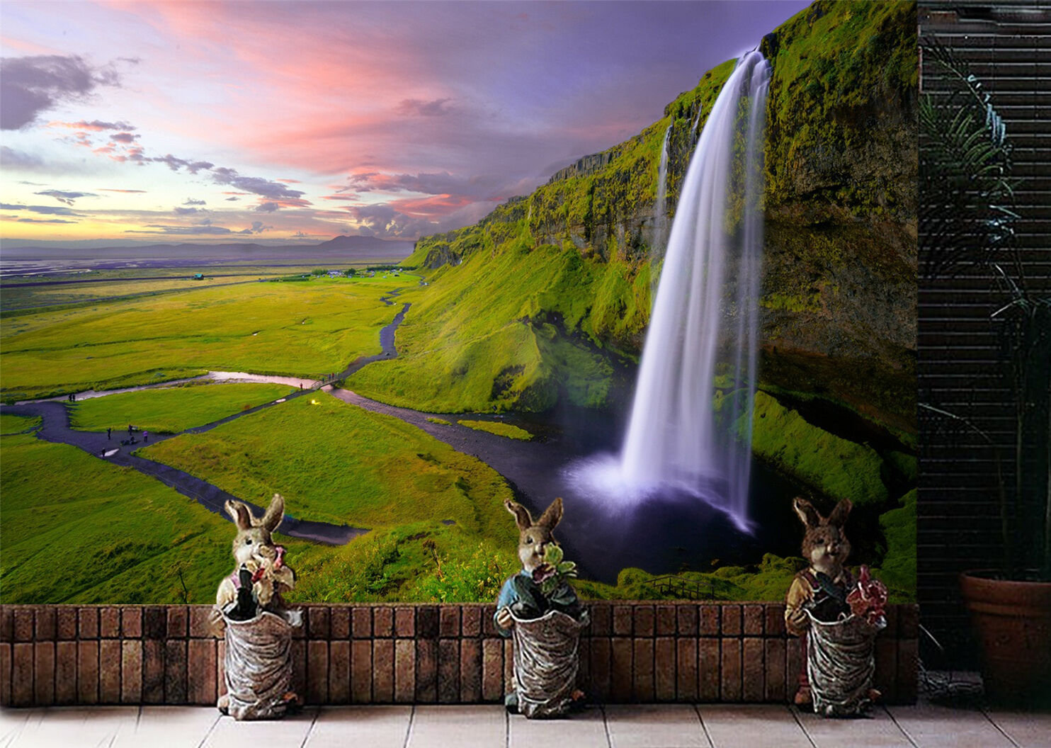 3D Sunset prairie waterfall Wall Paper Print Decal Wall Deco Indoor wall Mural