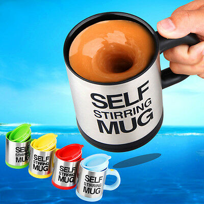 Stainless Lazy Self Stirring Mug Auto Mixing Tea Coffee Cup Office Home Gifts FE