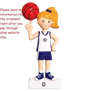 Basketball Player Girl Grandaughter Team Personalize Christmas Tree Ornament