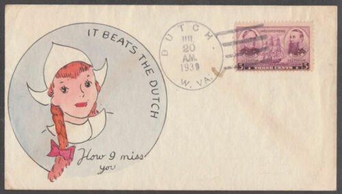 """DUTCH, W. VA"" FDC HAND PAINTED BY GLADYS ADLER BL2950"
