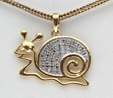 Yellow 18K Gold Sterling Silver Kids Snail GIFT Children Diamond Pendant Nursery