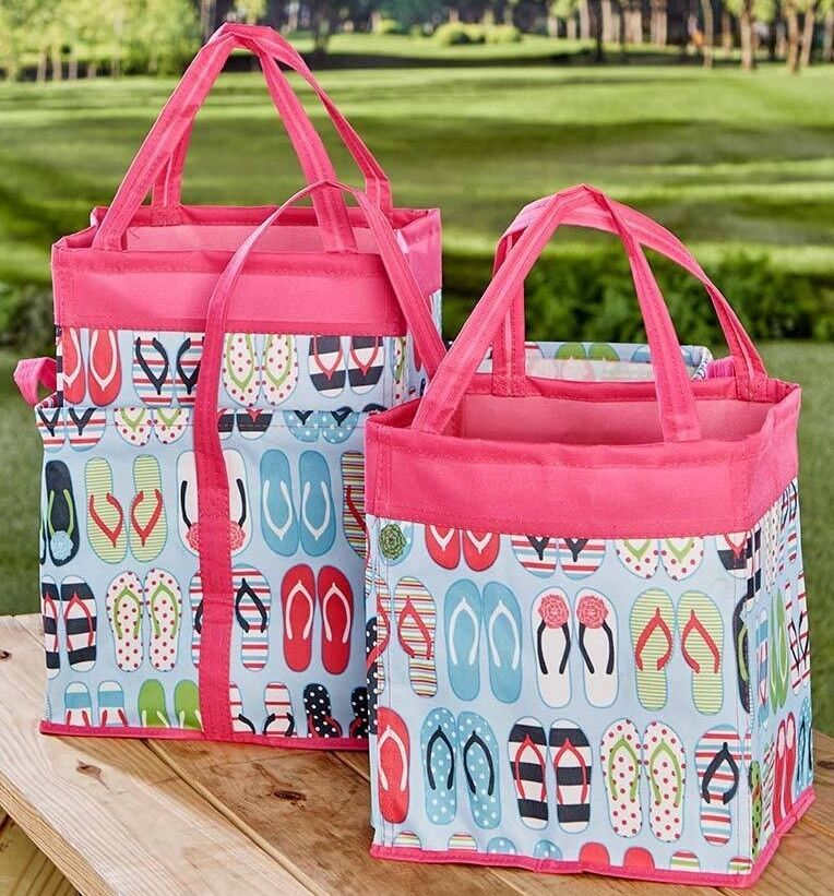 Flip Flops 3 Pc Storage Bins Organization 1 Large and 2 Small Car Travel Beach
