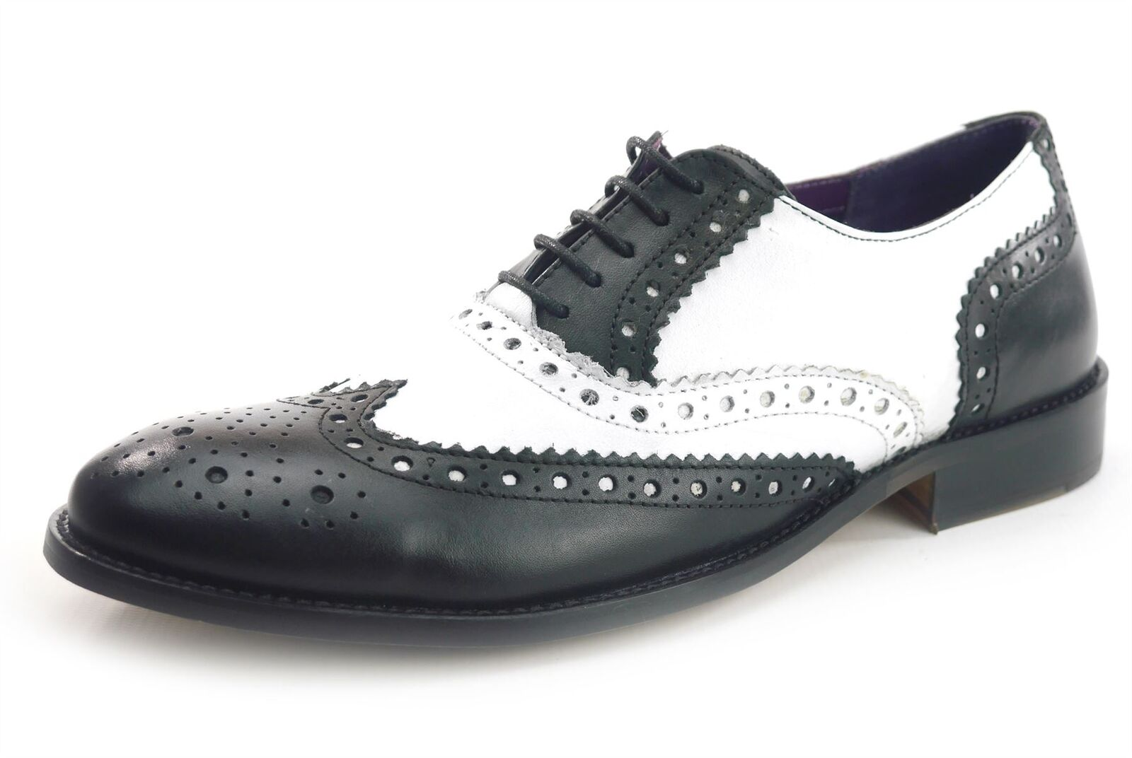 Frank James Redford Brogues Lace Up Formal Mens Leather Shoes Black White