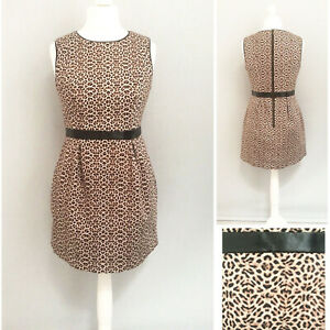 Warehouse-Vestido-16-Animal-Print-Marron-Wiggle-lapiz-de-fiesta-formal-de-trabajo-de-algodon