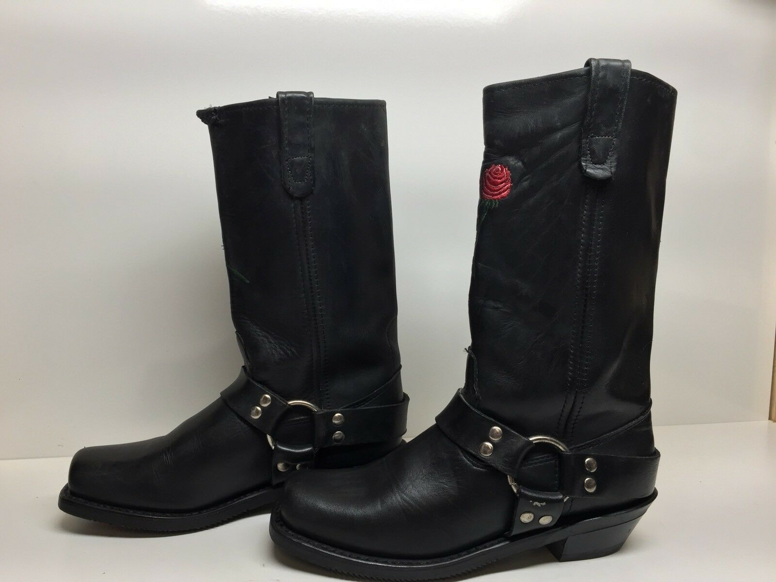 #C Damenschuhe DOUBLE H SQUARE TOE HARNESS MOTORCYCLE LEATHER BLACK BOOTS SIZE 9.5 M