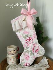 NEW! Quilted CHRISTMAS STOCKING made w/ RACHEL ASHWELL Rosalie ROSes Lace* Bow