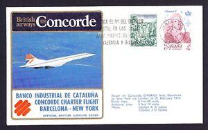 1979-Barcelone-a-New-York-British-Airways-Concorde-Couverture-CEF-premier-vol-Espagne