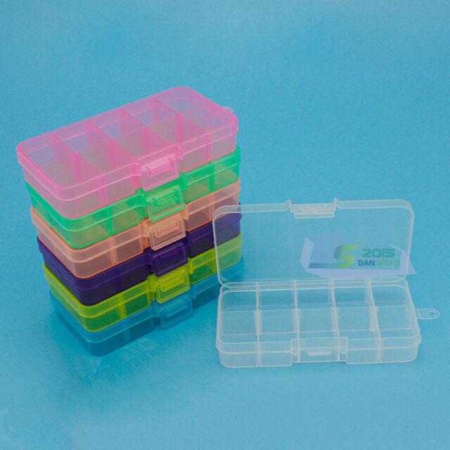 Plastic 10 Slots Adjustable Jewelry Storage Box Craft Organizer Case Beads New