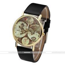PU Band Women's Casual Antique 3-Hand World Global Map Quartz Wrist Watch Black