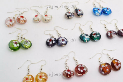 FREE Wholesale Lots 30 Paires Fleur Rond Murano Glass Bead Silver Tone earring