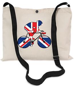 Union-Jack-Flagge-Radfahrer-Canvas-Musette-Bag-40x30cm-lange-verstellbarer-Riemen