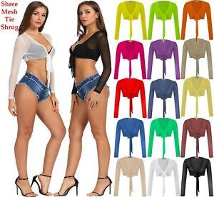 Womens-Long-Sleeve-Bandage-Wrap-Crop-Top-Mesh-Shrug-Transparent-Shirt-Blouse-Top