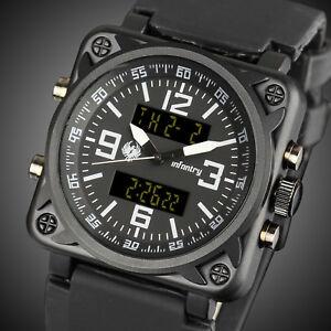 INFANTRY-Mens-Digital-Quartz-Wrist-Watch-Chronograph-Date-Military-Black-Rubber