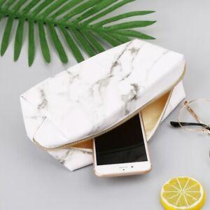 Large Cute Pencil Case Pen Box Zipper Bags Marble Makeup
