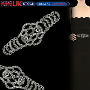 Silver-Diamante-Motif-Rhinestone-Applique-Sew-On-Wedding-Bridal-Prom-Dress-Patch