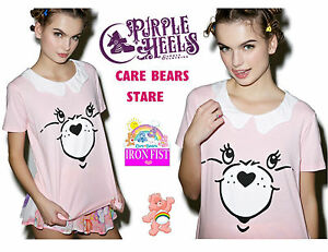 Iron-Fist-Care-Bears-Stare-80s-Retro-Pink-Cheer-Bear-Ruffle-Top-Size-Small