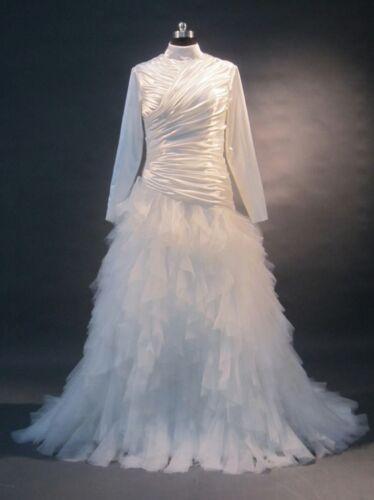 Stylish Muslim Long Sleeves High Neck Latest Bridal Wedding Dress