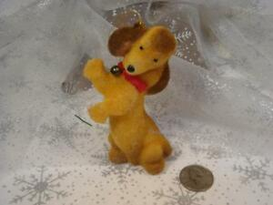 RARE VINTAGE FLOCKED DACHSHUND DOG PUPPY CHRISTMAS ORNAMENT RED COLLAR BELL