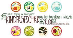 Kindergeschirr-Babygeschirr-Set-Bambus-5-tlg-Service-RUDI-verschiedene-Motive