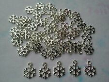 50 Pcs Small Silver Plated Snowflake Charms /Pendants 15 X 11 X 1mm