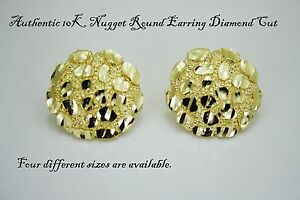 Image Is Loading 10k Gold Authentic Nugget Round Diamond Cut Stud