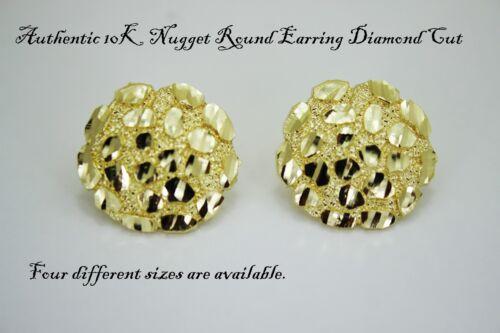 10K Gold Authentic Nugget Round Diamond Cut Stud Earrings for Men Women
