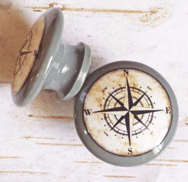 "Set of 4 Handmade Compass Birch Knob Drawer Pulls Old World Nautical 1.5/"" Knobs"