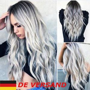 Mode Damen Grau Lang Volle Perücke Cosplay Haarteile Wig Haar Kostüm