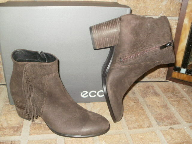 New ECCO Shape 55 Fringed Leather Ankle Boot  Coffee  200