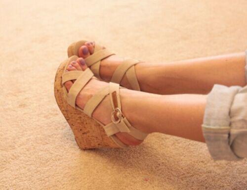 Womens Slingbacks Platform Wedge High Heels Peep Toe Suede Fashion Sandals Shoes