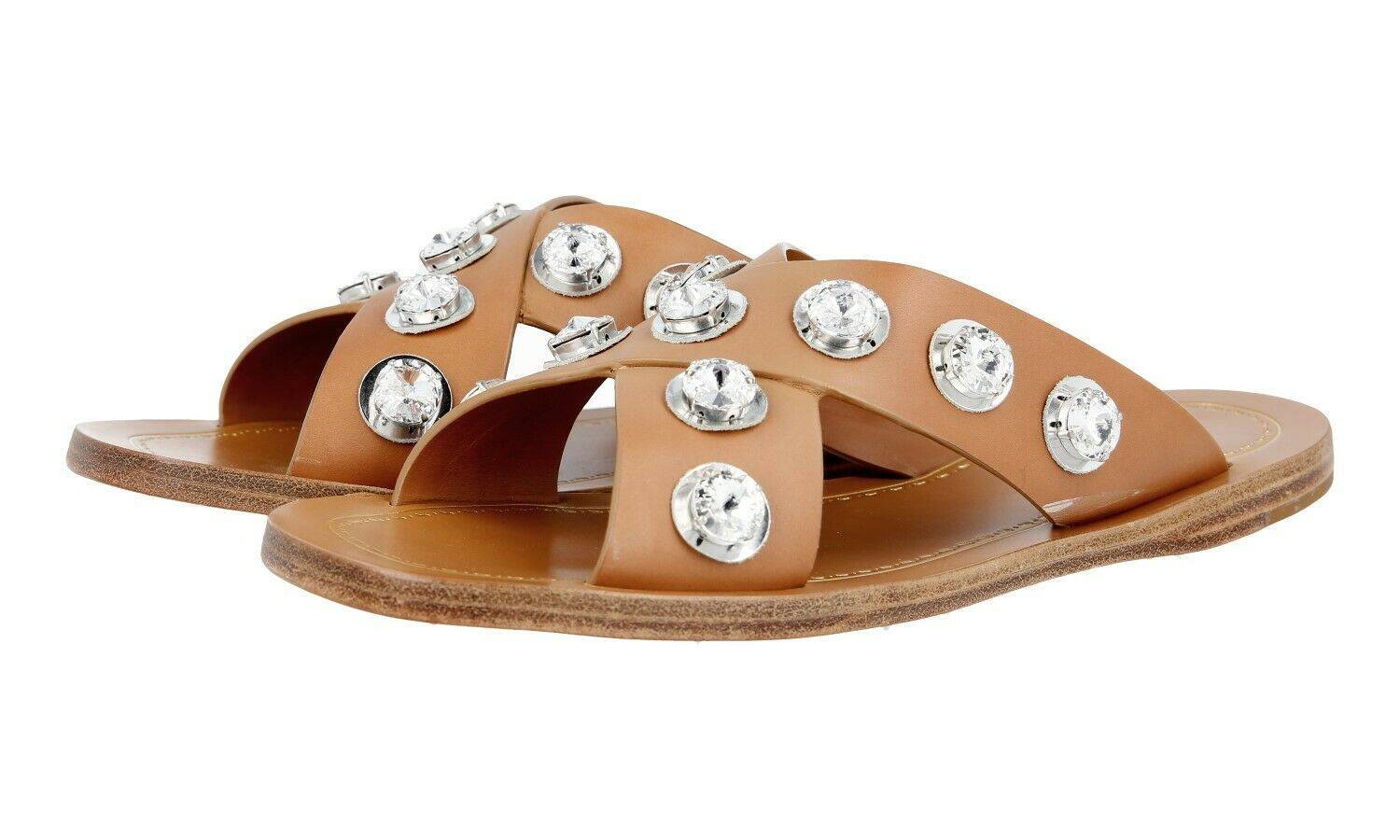 AUTH LUXURY PRADA SANDALS SHOES 1XX247 NATURALE RHINESTONE 37,5 38 UK 4.5
