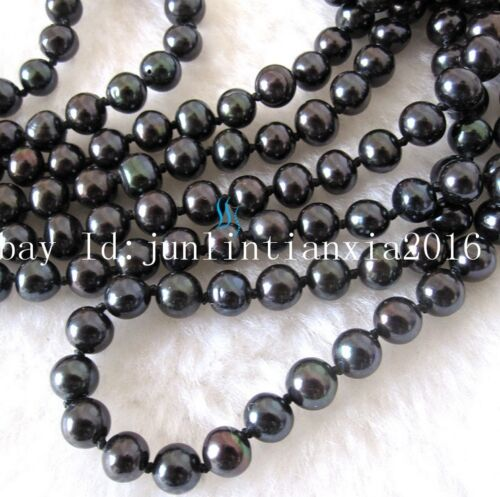 Natural 7-8mm Black freshwater Cultured Pearl Necklace Super Long 100/'/' AA