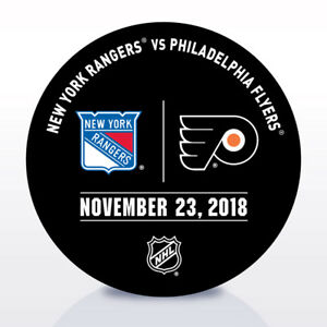 Philadelphia-Flyers-Issued-Unused-Warm-Up-Puck-11-23-18-Vs-New-York-Rangers