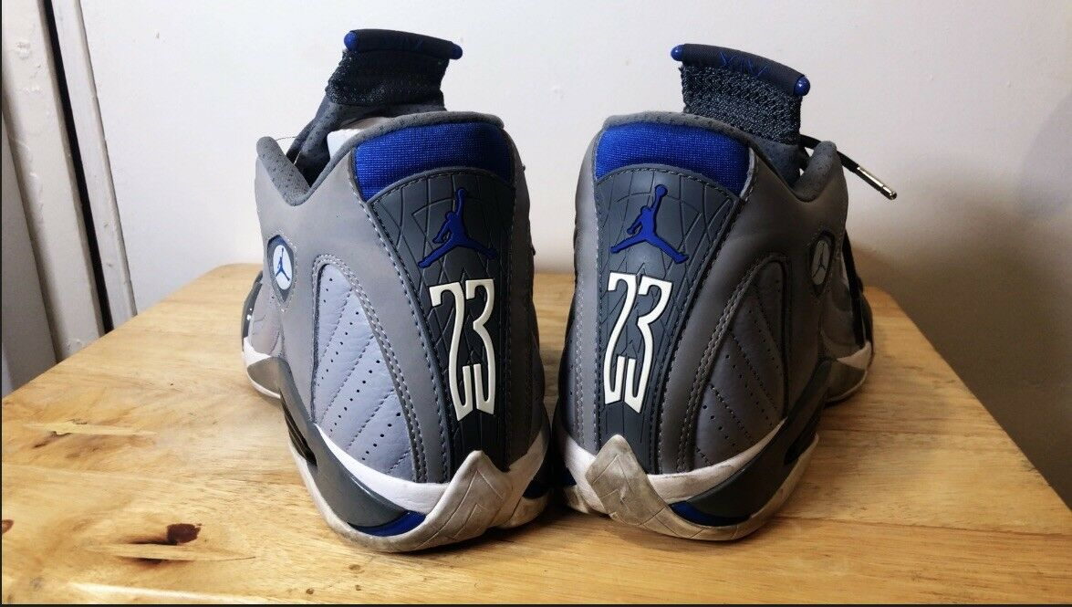 Men's Air Jordan 14 Retro XIV Wolf Grey White Sport blueee Size 11