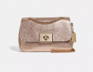 281f7f4fc18 Details about Coach Crinkle Metallic Leather Cassidy Chain Crossbody Bag  IM/Rose Gold F38937