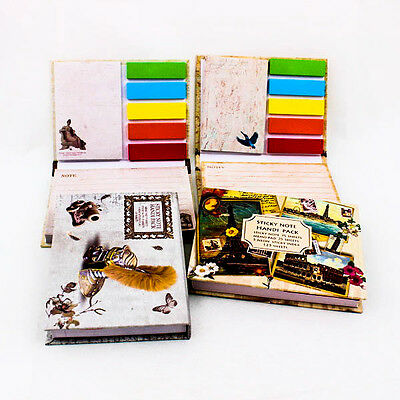 Classic Vintage Notepad Sticky notes Post it Book Bookmark Kit Set Message A0153