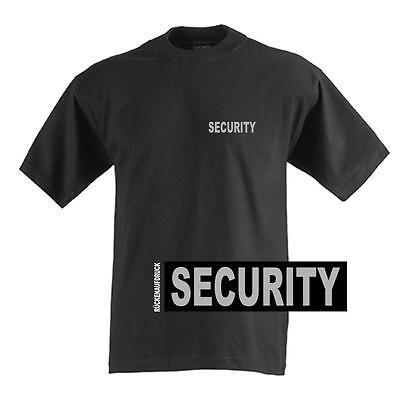 SECURITY T-Shirt / Hemd Black mit Brust- und Rückenaufdruck in reflexsilber.