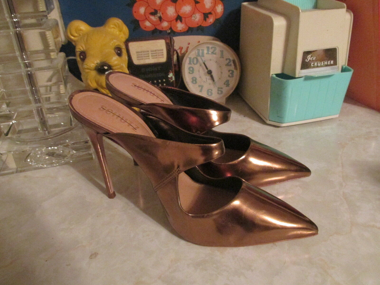 Schutz new Nicolly Pointy Toe Mule Heels Patent Leder color new Schutz bronze Sz: 8 NWOB ac146d