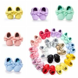 US Infant Boy Girl Toddler Baby Kid Moccasin Tassel Soft Sole Leather Shoes Gift