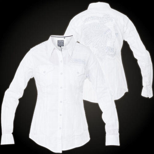 AFFLICTION Damen Hemd Patrol Woven Weiß Hemden  affliction Patrol Woven