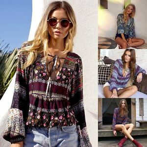 Fashion-Womens-Summer-Boho-Long-Sleeve-Casual-Blouse-Loose-Cotton-Tops-T-Shirt