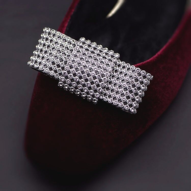 Sexy Clear Diamante Crystal Silver Bow Fashion Party Shoe Clips Pair